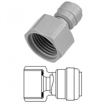 """Terminale diritto femmina Ø tubo - filetto BSP (Tipo Piatto) 3/8"""" x 1/2"""