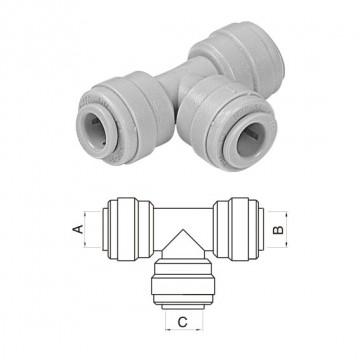"""Intermedio a T Ø tubo (A)1/4"""" x (B)1/4"""" x (C)5/16"""""""