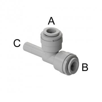 "Tee con codolo laterale Ø tubo - Ø codolo (A)1/2"" x (B)1/2"" x (C)1/2"""