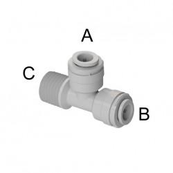 """Tee con filetto laterale Ø tubo - filetto NPTF (A)3/8"""" x (B)3/8"""" x (C)3/8"""""""