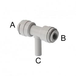 "Intermedio a T Ø tubo - Ø codolo (A)1/4"" x (B)1/4"" x (C)1/4"""