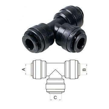 Intermedio a T Ø tubo (A)22MM x (B)15MM x (C)15MM