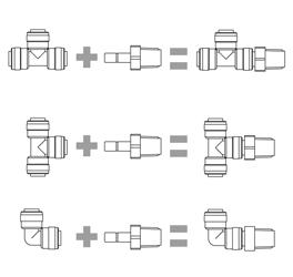 DMfit Serie bianca raccordi in pollici resina acetalica