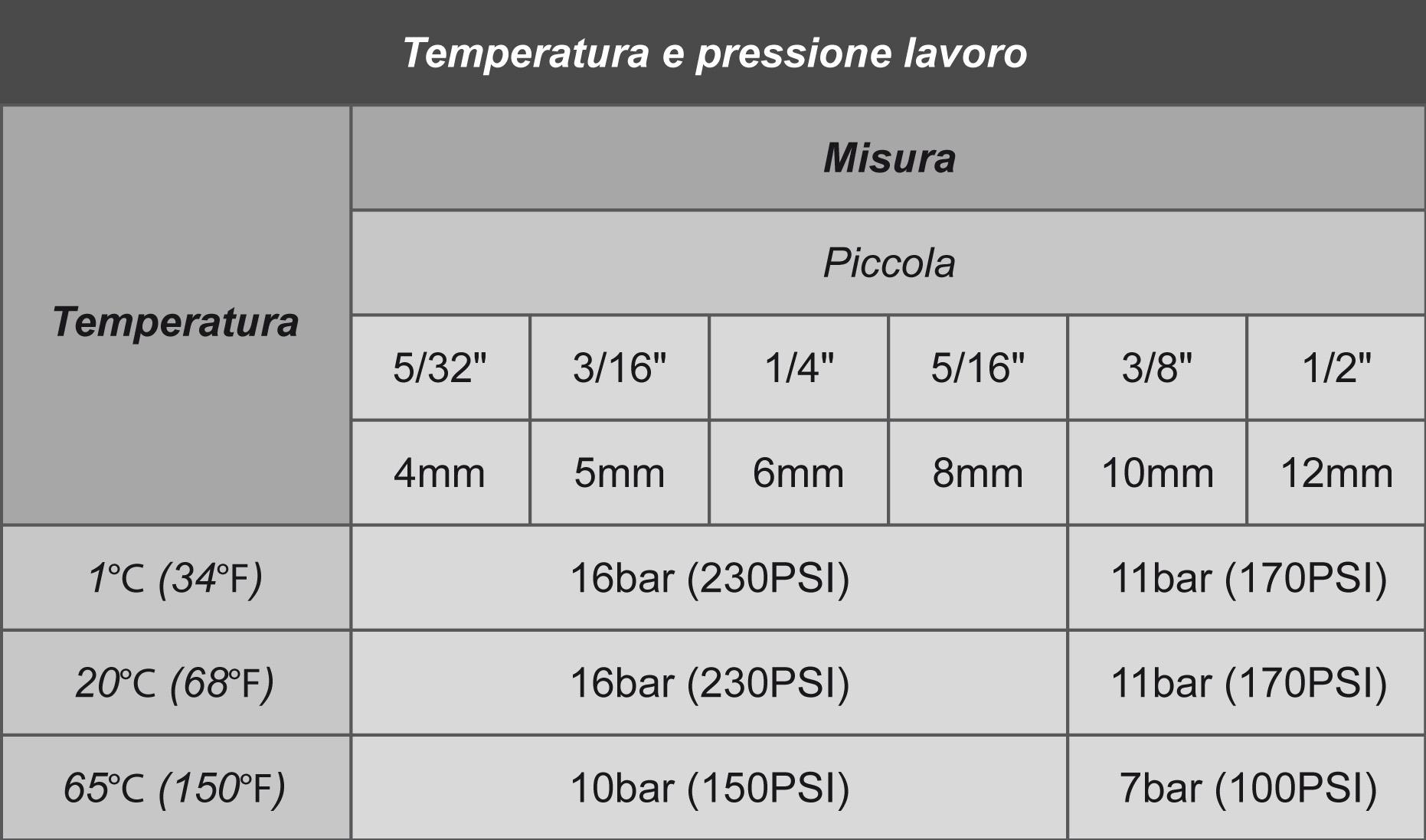 DMFIT Pressione d'esercizio e temperatura raccordo misura piccola